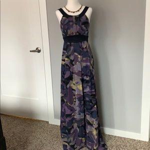 BCBG Paris blue/purple modern print dress